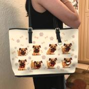 VOTANTA - Bulldog emotions Tote Bag For Women and Girls (Light Yellow)