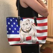 VOTANTA - BullDog Flag Tote Bag For Women and Girls (White)