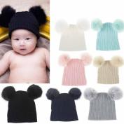 Toddler Winter Hat ,Sunbona Infant Newborn Winter Wool Keep Warm Cute Knit Crochet Hairball Beanie Cap