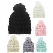 Toddler Winter Wool Hat ,Sunbona Infant Newborn Winter Keep Warm Cute Knit Crochet Hairball Beanie Cap