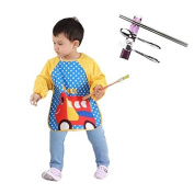 Sealive Waterproof Sleeved Bib Long Sleeved Water-Resistant Washable Cute Cartoon Baby Toddler Bib,With Portable Flatware Spoon Chopsticks,Fork with Travel Carry Box,Ideal for Mealtimes Messy Play