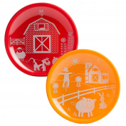 Brinware Barn Yard Tempered Glass and Silicone Dish Set, Red/Orange