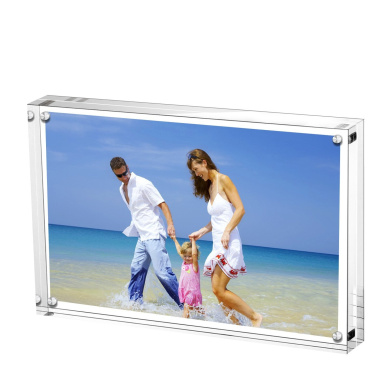 Magnetic Photo Frame,AmeiTech Acrylic Pictures Frames, Holds 6 x 8 inches Pictures,10 + 10MM Thickness Frameless Desktop Postcard Display - Transparent
