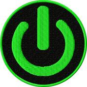 Power Symbol Iron On Patch Applique - Green, Black - 6.4cm Circle