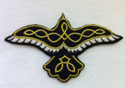 """Custom and Unique (11cm x 6.6cm Inch) """"Celtic"""" Raven Bird Flying w/ Knotwork Iron On Embroidered Applique Patch {Gold, Black, & White Colours}"""