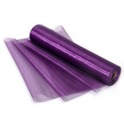 Vsolucky 29cm x 27 Yards Purple Sheer Crystal Organza Fabric Roll Spool Table Runner Chair Sash Swag Wedding Party Car Stair Bow Valance DIY Decor