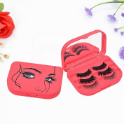 Auwer New Red Girl Printed Three Tier False Eyelash Storage Container Box Makeup Cosmetic Mirror Carry Case Holder, Organiser Case for Travel