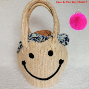 Embroidery Cute Woven Emoji Smile Face Pom Pom Straw Bag Summer Beach Travel Cross body Shoulder Bags Handbags for Women by DNA