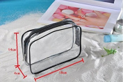 Ypres SU 3 Pack Transparent Clear PVC Vinyl Zippered Luggage Toiletry Carry Pouch Travel Cosmetic Makeup Bag Clear Bag