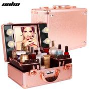 UNHO LED 4 Light Makeup Case with Lights and Tilt Mirror Makeup Case with 2 Trays Large Makeup Artist Organiser Kit Rose Gold