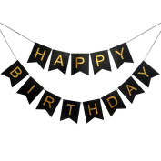 Veewon Happy Birthday Bunting Banner Black And Gold Letters Garland Flags For