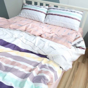 BuLuTu Cotton Colourful Horizontal Stripes Print Pattern Design Twin Quilt Bedding Sets With 4 Corner Ties White Bedding Collections Zipper Closure For Teens Students
