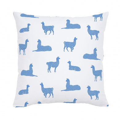Carousel Designs Ice Blue Llamas Throw Pillow 46cm Square Size - Organic 100% Cotton Throw Pillow Cover + Insert - Made in the USA
