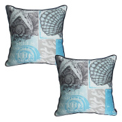 WOMHOPE Set of 2 pcs - 46cm Ocean Park Theme Nautical HD - Satin Polyester Square Throw Pillow Case Decorative Accent Cushion Cover Pillowcase Cushion Case for Sofa,Bed (Shell