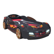 Cilek Kids Room Champion Racer Collection, BiTurbo Car Bed with Mattress, Anthracite