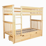 Max & Lily Solid Wood Twin over Twin Bunk Bed with Under Bed Storage Drawers, Natural