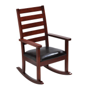 Giftmark Mission Style Kids Rocking Chair with Upholstered Seat, Style C, Cherry