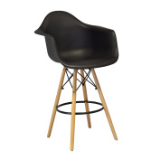 Design Tree Home Charles Eames Style DAW Counter Stool, Black ABS Plastic