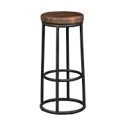 Rustic Industrial Backless Black Metal Bar Stool Bar Height with Wooden Seat - Includes Modhaus Living Pen