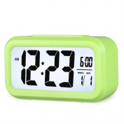 HENSE Smart Backlight Alarm Clock Mute Silent LCD Electronic Travel Clock With Large Display And Big Numbers,Date and Time Display HA11-6