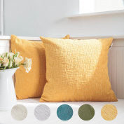 Kevin Textile Decor Soft Solid Velvet Toss Throw Pillow Cover Christmas Fashion Striped Decorative Pillow Case Handmade Cushion Cover for Couch, 46cm x 46cm ,2 Pieces,Primrose Yellow