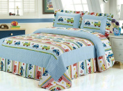 HNNSI Car and Truck Pattern Kids Boys Quilt Comforter Set 2 Pieses Twin Size, 100% Cotton Cosy Sheet Bedspread, Kids Bedding Sets for Boys