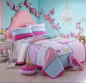 HNNSI 100% Cotton 2PCS Quilt Bedspread Set Twin Size for Kids Girls, Teen Girls Cute Patchwork Comforter Bedding sets with Butterfly Birds Pattern