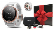 Garmin fenix 5S Sapphire (Rose Gold with White Band) GIFT BOX Bundle | Includes Glass Screen Protector, PlayBetter USB Car/Wall Adapters, Hard Protective Case | Multi-Sport GPS Watch, Wrist-Heart Rate