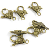 10 Pieces Fermoir Jewellery Making Supply Charms Findings Bronze Tone S1VB9 Bird Lobster Key Clasp Ring