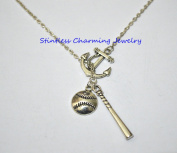 Anchor Necklace, Anchor Charm Necklace, Nautical Necklace ,Baseball Bat Gift Necklace, Mom Sports Softball Necklace