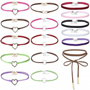 MingJun 16 Pieces Muticolor Velvet Love Heart and Ring Choker Set Elegant Classic Lace-up Necklace for Women Girls Teen 90s