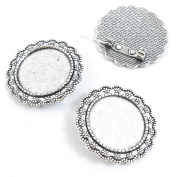 Qty 70 Pieces Jewellery Making Charms Filigrees R8TA9 Pinback Brooch Cabochon Setting Blank 25mm