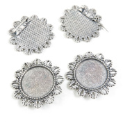 Qty 70 Pieces Silver Tone Jewellery Making Charms Filigrees W4HG6 Pinback Round Cabochon Brooch