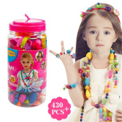 430 PCS Snap Beads Set - Picowe Kids' Jewellery Making Kits for Necklace and Bracelet for Girls Art Crafts Gift Toys 23cm × 10cm
