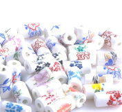 Mixed Style Paint Flower Column Shape Porcelain Ceramic Spacer Beads Craft Finding Jewellery Making DIY
