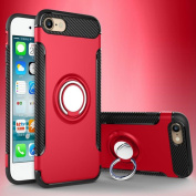 iPhone 6 Magnetic Car Phone Stand Case,Inspirationc Shockproof 360 Degree Rotating Ring Stand with Air Vent Magnetic Car Vent Mount Rubber Case for iPhone 6/6S 12cm --Red