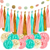 Mint Peach Gold Party Decorations Paper Garland for Baby Shower