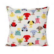 HLHN Dog Pattern Cotton Square Design Pillow Case Pillowslip Waist Throw Cushion Cover for Sofa Home Bedroom Office Coffee Shop Car Decorations