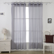 Deconovo Eyelet Ready Made Curtains Semi Transparent Sheer Voile Curtains for Windows with Two Matching Tie Backs 140cm x 180cm Grey Two Panels