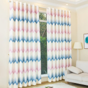 Kinlo 1PCS Pink-Blue Eyelet Blackout Curtains Width 145cm x Depth 175cm Thermal Insulated Top Eyelet Anti-noise Blackout Curtains with Ruffle Heavily Curtain