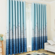 Kinlo 1 Panel Eyelet Blackout Curtains Thermal Insulated Top Eyelet Anti-noise Blackout Curtains with Ruffle Heavily Curtain Width 145cm x Depth 245cm Sky-Blue