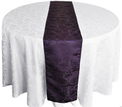 "Wedding Linens Inc. 12"" x 108"" Versailles Chopin Jacquard Polyester Table Runners / Damask Table Runner Linens for Restaurant Kitchen Dining Wedding Party Banquet Events - Eggplant / Dark Purple"