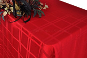 Wedding Linens Inc. 230cm x 400cm Rectangular Plaid Chequered Jacquard Damask Polyester Tablecloths Table Cover Linens for Restaurant Kitchen Dining Wedding Party Banquet Events - Apple Red