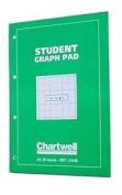 Chartwell A4 Green Student Graph Pad 50 Sheets (0.3cm , 1.3cm & 2.5cm ) J104b
