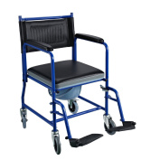 Homcom Wheelchair Mobile Wheeled With Padded Seat & Footrests Deluxe Transpor...