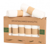 KIPKITS 6 ULTRA SOFT Baby Bath Washcloths, 100% Natural Bamboo Towels, Perfect for Sensitive Baby Skin, 25cm x 25cm