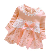 Girls Clothes Odeer 2017 Baby Girls Long Sleeve Party Lace Flower Bow Princess Dress Kids Clothes