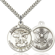 Sterling Silver St. Michael Pendant 2.5cm X 4.1cm with Heavy Curb Chain