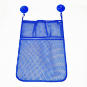 Yarssir Bath Toy Organiser- Baby Bathroom Tub Storage + 2 Bonus Suction Cups Hooks with Multiple Pockets for Easy Draining And Drying, Kids Toy Shower Caddy,Blue