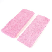 DealMux 2 Pcs Exercises Pink Terry Stretchy Hair Binding Band Headband 2.7 Wide